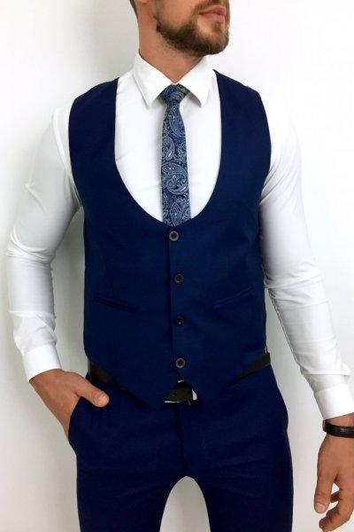 Komplet męski kamizelka +spodnie Granat