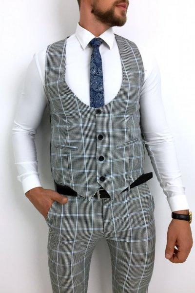 Komplet męski kamizelka + spodnie krata błękitna