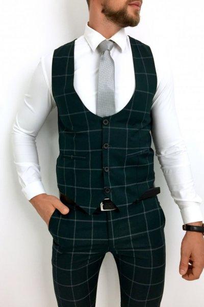 Komplet męski kamizelka + spodnie w kratę Butelkowa zieleń
