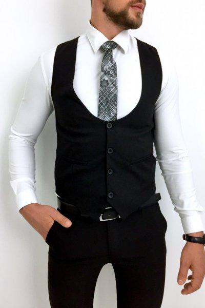 Komplet męski kamizelka + spodnie czerń