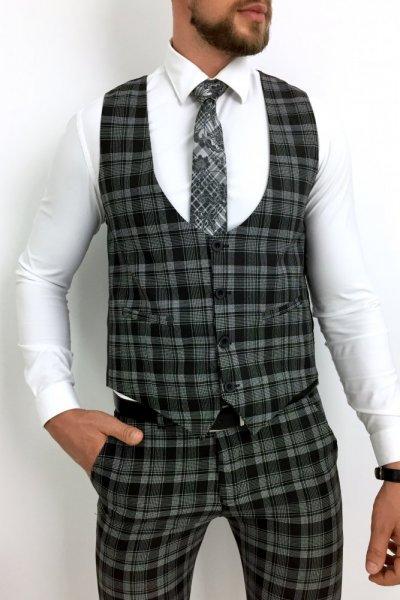 Komplet męski kamizelka +spodnie czarny , biała krata