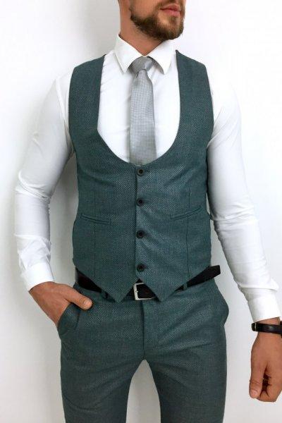 Komplet męski kamizelka + spodnie , zieleń