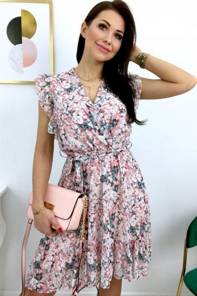 Sukienka LILIANA z dekoltem 3 - pink