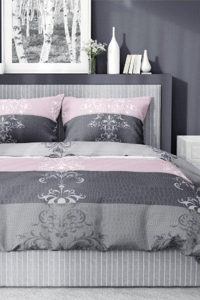 Pościel bawełniana ORNAMENT/PASY 160x200 - szaro-różowa