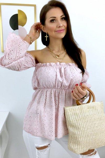 Bluzka ażurowa HISZPANKA - pink