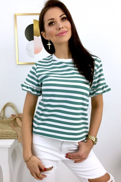 T - shirt w paski - white/green