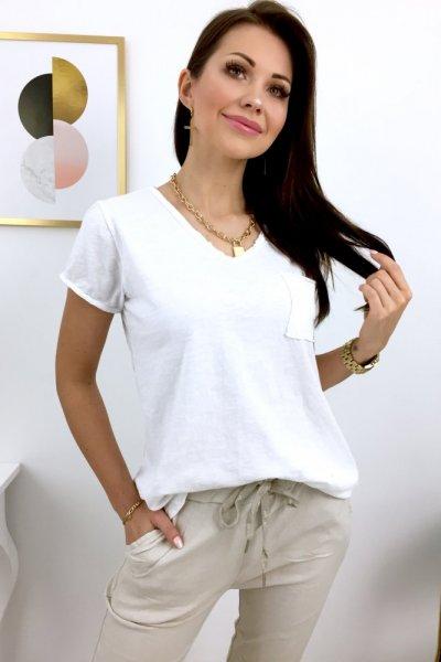 T - shirt BASIC z kieszonką - white