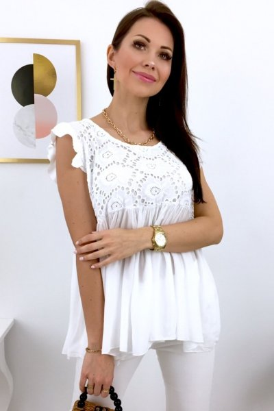 Bluzka MELANIA z gipiurą - white
