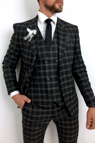 Męski garnitur w kratę szarą H24 czarny