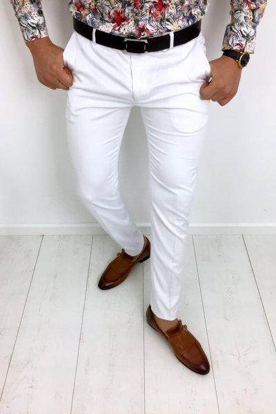 Spodnie materiałowe white 4