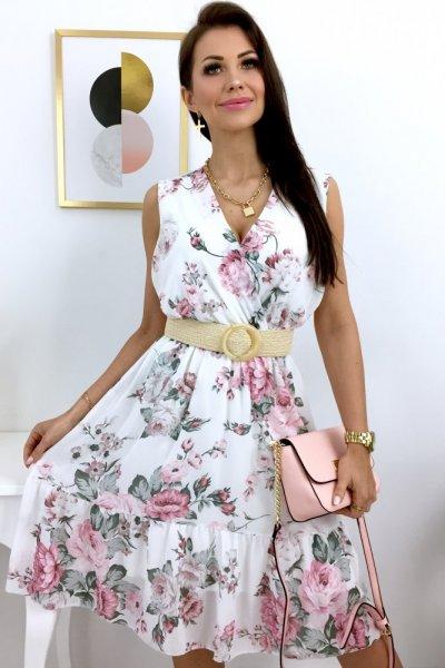 Sukienka MOLLY flowers - white