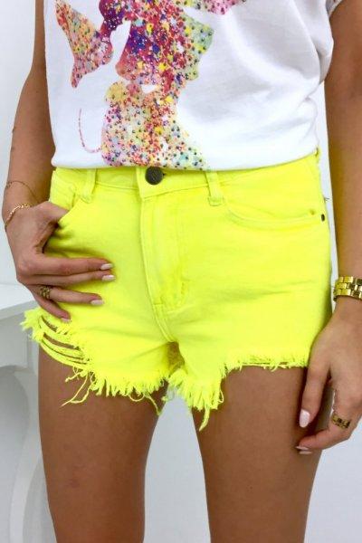 Szorty/spodenki jeans SEXY - neon yellow