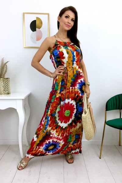 Sukienka MAXI multicolor - dark blue/red