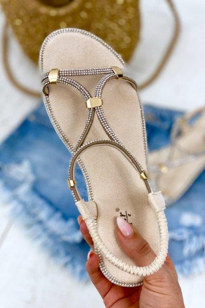 Sandałki z cyrkoniami SHINE - beige