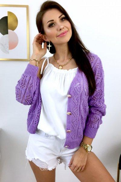 Sweter/kardigan AŻUR - lila