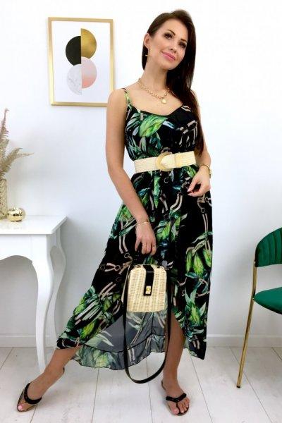 Sukienka PALMS na ramiączka asymetryczna - czarna
