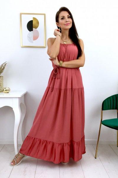 Sukienka PARMA maxi - ceglana