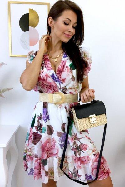 Sukienka LILIANA z dekoltem - multicolor