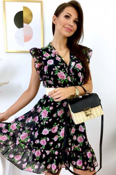 Sukienka LILIANA z dekoltem - black/pink