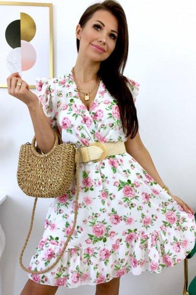 Sukienka LILIANA z dekoltem - white/pink