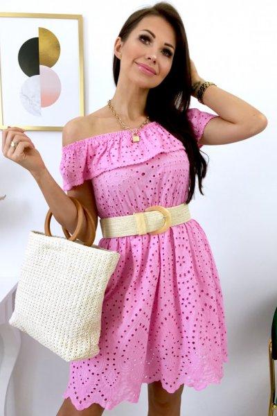 Sukienka BELLA ażurowa - pink