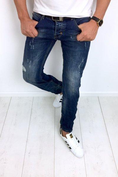 Spodnie męskie jeans z przetarciami YB055