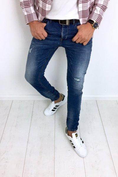 Spodnie męskie jeans z przetarciami S826 SLIM FIT