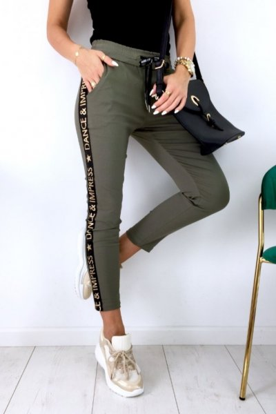 Spodnie FLOW - khaki/gold