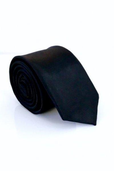 Krawat męski czarny typu slim