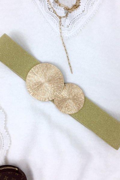 Pasek guma GOLD ring - gold beige