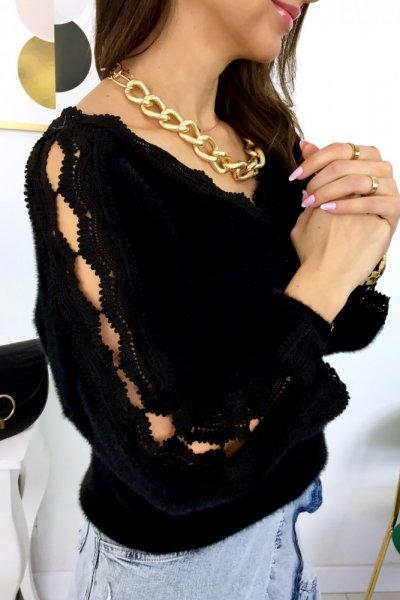 Sweter JUAN koronki na rękawach - black