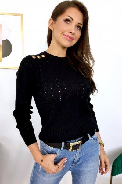 Bluzka sweterkowa GOLD BUTTON - black