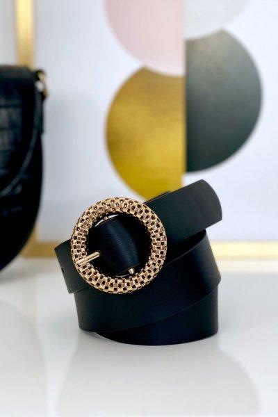 Pasek ECO ze złotą klamerką - black ( 3 cm )