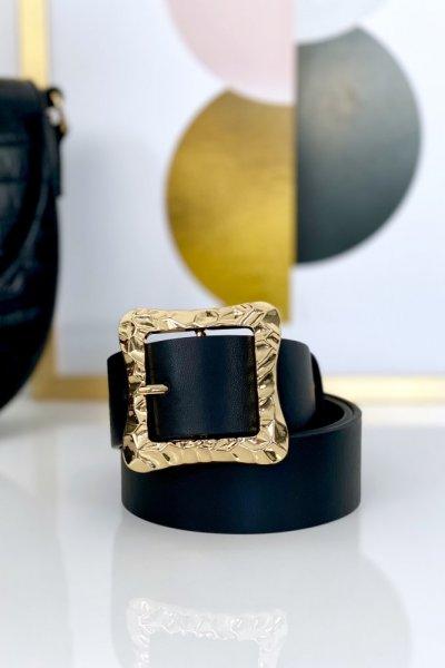 Pasek ECO ze złotą klamrą - black ( 4 cm )