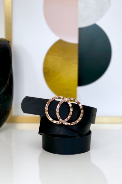 Pasek ECO ze złotą klamrą 2 - black ( 2.5 cm )