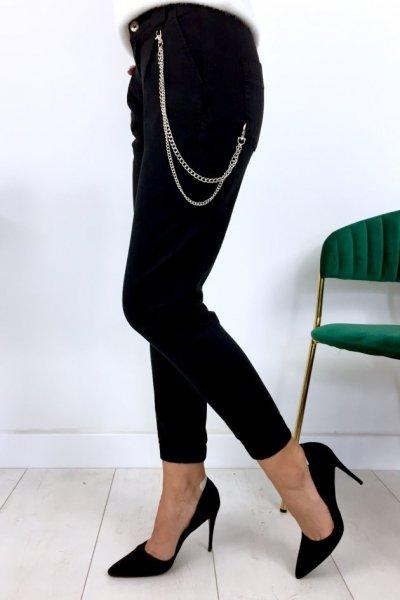 Spodnie/jeansy bojówki z łańcuchem - black ( Q1072-13 )