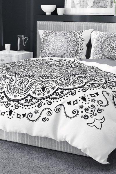 Pościel Holenderska WZORY black/white - 200x220 - biało-czarna