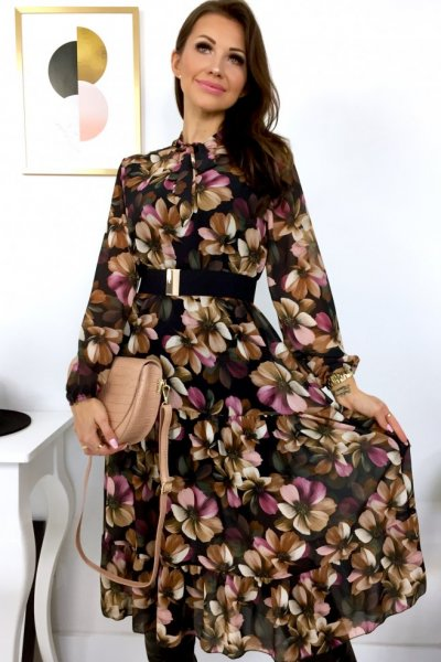 Sukienka MIDI LIDIA flowers z wiązaniem - black
