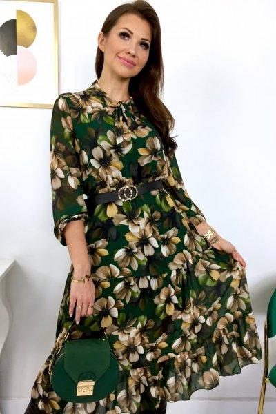Sukienka MIDI LIDIA flowers z wiązaniem - green