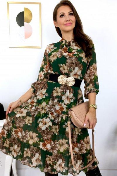 Sukienka MIDI CLARA flowers z wiązaniem - green/beige