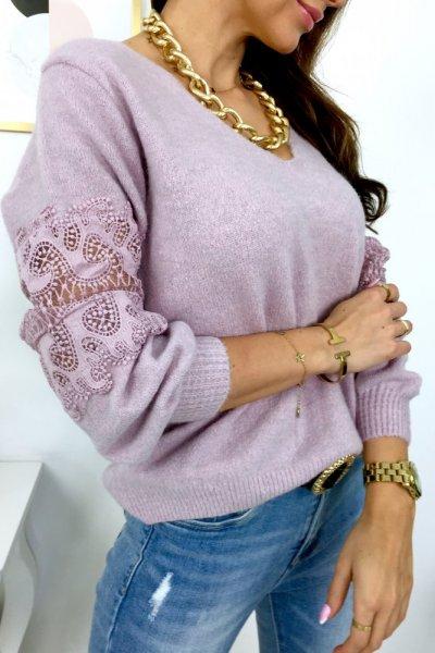 Sweter z koronką LUX - lila