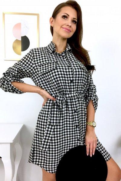 Sukienka koszulowa NILA - black/white