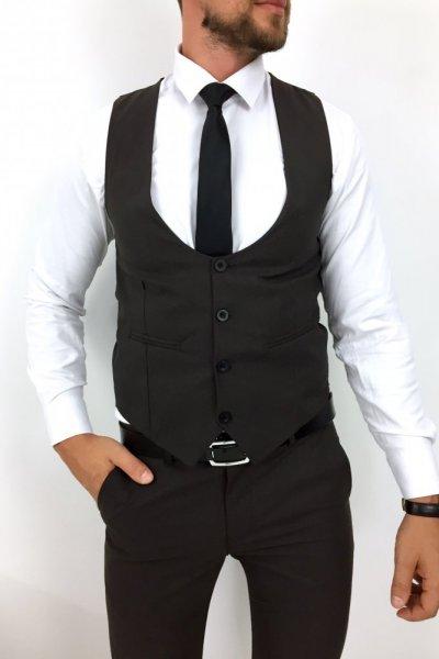 Komplet męski kamizelka + spodnie ciemny brąz