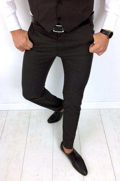 Spodnie materiałowe - ciemny brąz