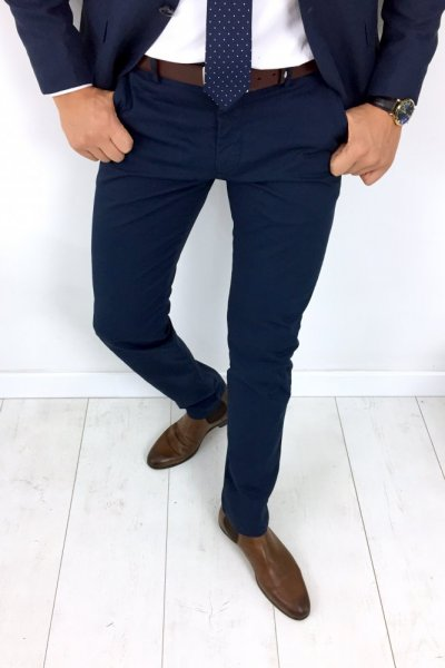 Spodnie męskie klasyczne granat H05