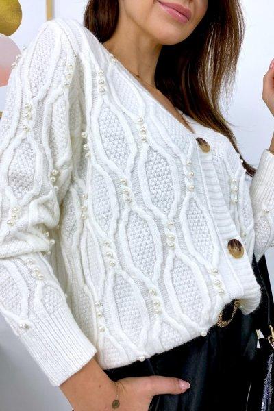 Sweter PEARL lux rozpinany - ecru