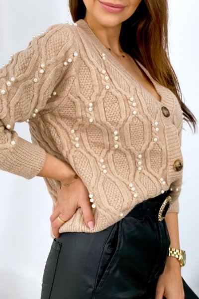 Sweter PEARL lux rozpinany - camel