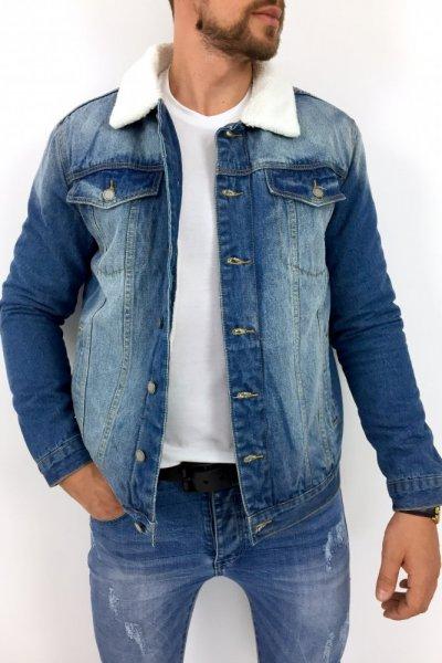 Kurtka jasny jeans z ocieplaczem