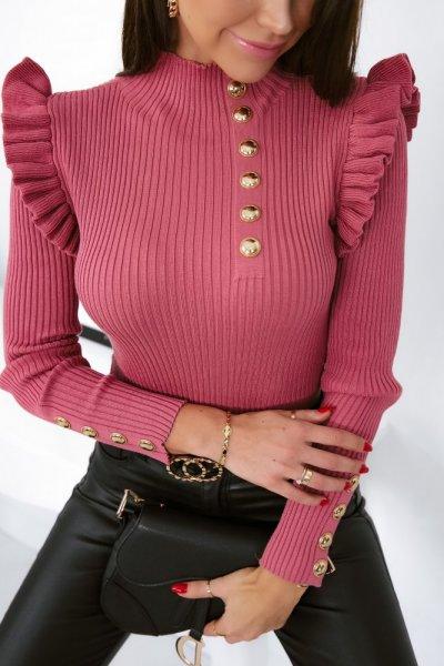 Bluzka sweterkowa GOLD BUTTON półgolf - pink