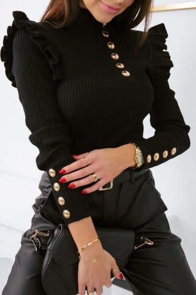 Bluzka sweterkowa GOLD BUTTON półgolf - black